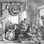 Old drawing of turnspit dogs at work